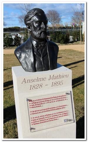 buste d'Anseme Mathieu sculpté par M. Langloys, situé au Parc des Poètes à Eyragues